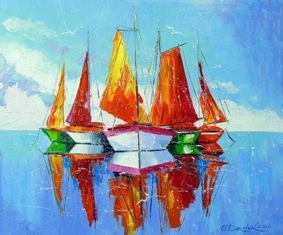 Картина маслом морской пейзаж «Парусники на рейде» купить живопись для современных интерьеров Украина