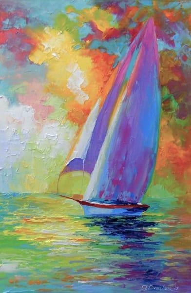 Картина маслом морской пейзаж «Парусник в море» купить живопись для современных интерьеров Украина