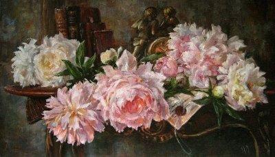 Картина с цветами «Пионы» купить живопись для современных интерьеров Киев