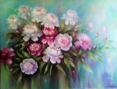 Картина «Пионы» - живопись для современных интерьеров Украина - живопись цветы