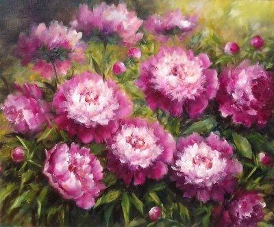 Картина с цветами «Пионы» купить живопись для современных интерьеров Украина