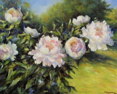 Картина живопись с цветами «Пионы в моем саду» купить живопись для современных интерьеров Украина