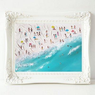 Картина маслом морской пейзаж «Пляж Калифорнии» купить живопись для современных интерьеров Киев