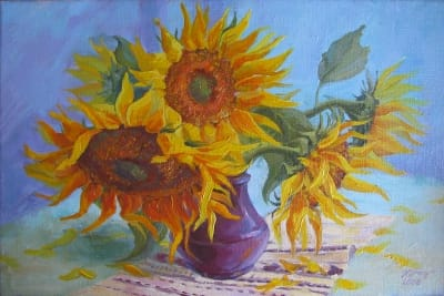 Картина «Подсолнухи в сиреневой вазе»