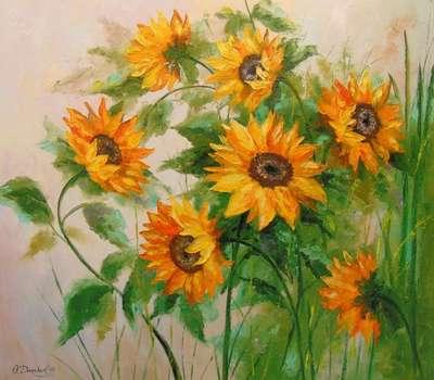 Картина цветы «Подсолнухи» - купить живопись для современных интерьеров Украина