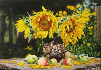 Картина цветы «Подсолнухи в украинском кувшине» купить живопись для современных интерьеров Украина