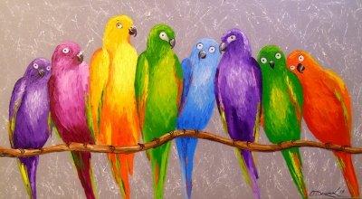 Картина маслом «Попугаи-друзья» купить живопись для современных интерьеров Украина