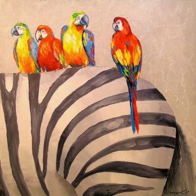 Картина маслом «Попугаи на зебре» - живопись для современных интерьеров Украина
