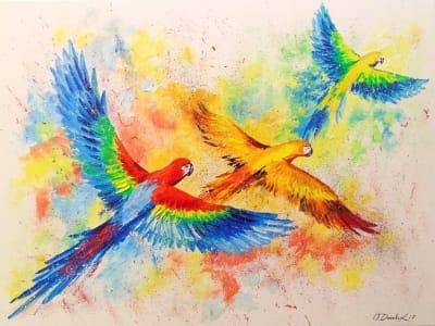 Картина «Попугаи в полете»