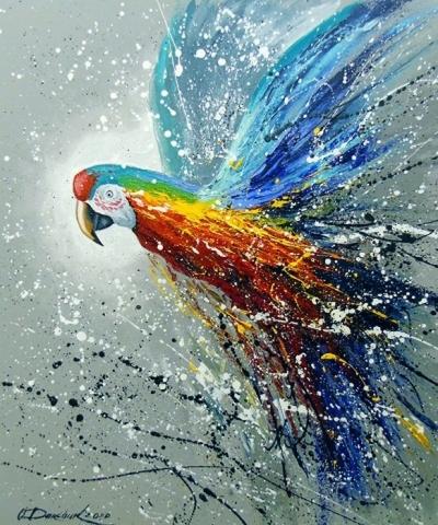 Картина анималистика «Попугай в полете» купить живопись для современных интерьеров Украина