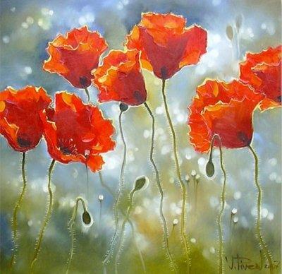 Картина маслом цветы «После дождя» купить живопись для современных интерьеров Украина