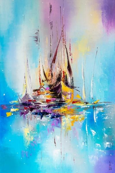 Картина маслом морской пейзаж «Призрачные лодки» купить живопись для современных интерьеров Киев