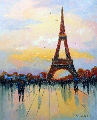 Картина пейзаж «Прогулка по Парижу» купить живопись для современных интерьеров Украина