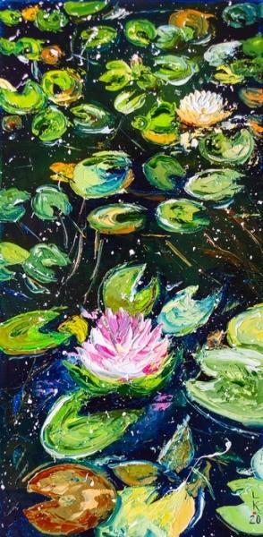 Картина маслом цветы «Пруд» купить живопись для современных интерьеров Киев