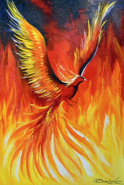 Абстрактная картина «Птица Феникс» купить живопись для современных интерьеров Украина