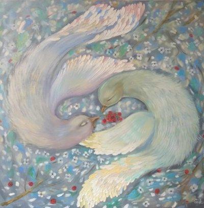 Картина маслом «Птицы» купить живопись для современных интерьеров Украина