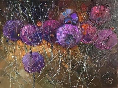 Картина маслом цветы «Пурпур» купить живопись Украина