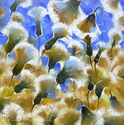 Картина маслом цветы «Пушистики» купить живопись для современных интерьеров Украина