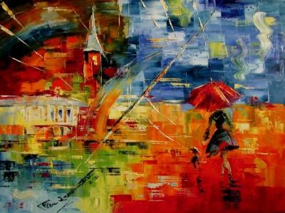 Картина маслом городской пейзаж «Радуга над городом» купить живопись для современных интерьеров Украина