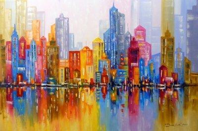 Абстрактная картина «Радужный город» купить живопись для современных интерьеров Украина