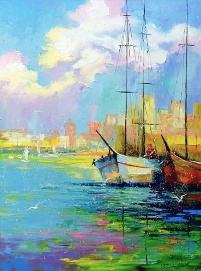 Картина маслом морской пейзаж «Радужное утро» купить живопись для современных интерьеров Украина
