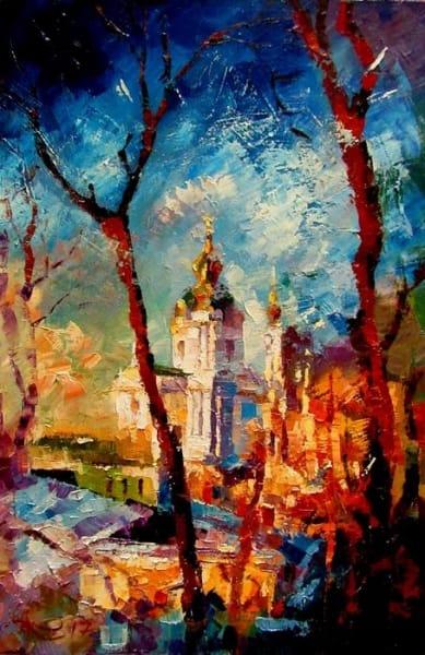 Картина маслом пейзаж «Ранняя весна» - живопись для современных интерьеров Украина