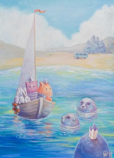 Картина детям «Пухнастики. Разговоры с морем» купить картину маслом Киев