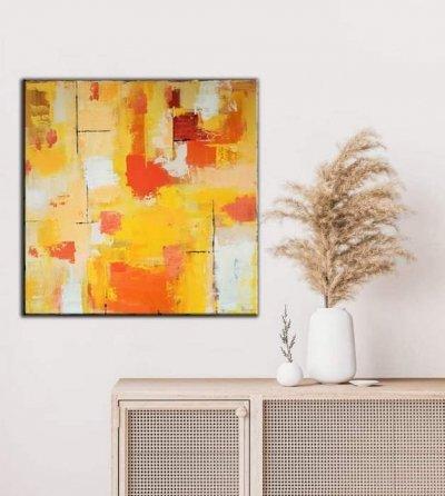 Картина абстракция для современных интерьеров «Sunrise» купить живопись Киев