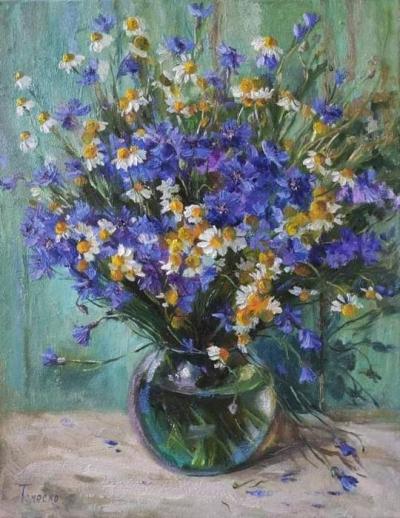 Картина маслом цветы ромашки с васильками «Трогательный букет» купить живопись Киев