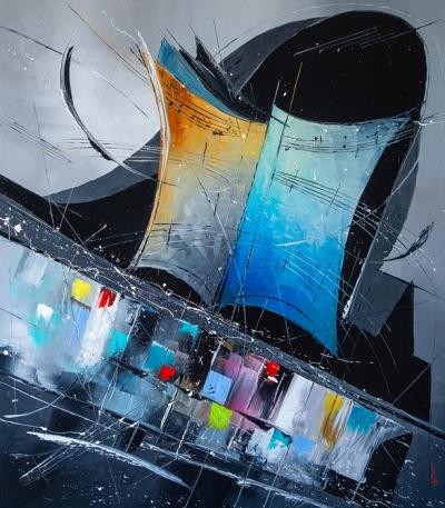 Картина маслом абстракция «Рождение мелодии» купить живопись для современных интерьеров Украина