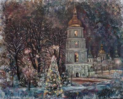 Картина пейзаж «Рождество» купить живопись Украина