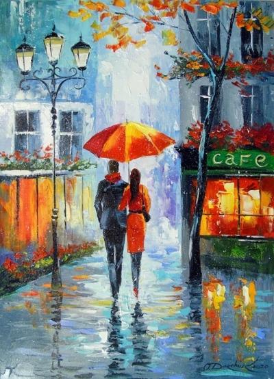 Картина маслом пейзаж «Романтическая прогулка» купить живопись для современных интерьеров Украина