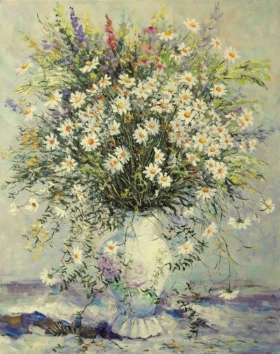 Картина маслом цветы «Ромашки» купить современную живопись Украина