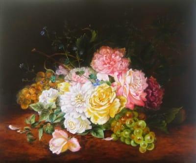 Картина «Розы и виноград»