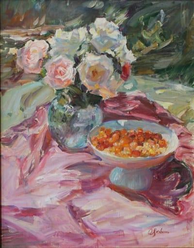 Картина маслом цветы «Розы. Июнь» купить живопись для современных интерьеров Украина