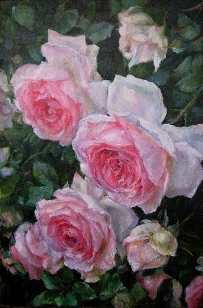 Картина маслом цветы «Розы» купить живопись для современных интерьеров Киев