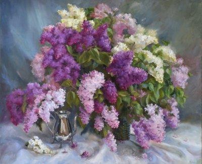 Картина цветы «Роскошная сирень» купить живопись для современных интерьеров Украина