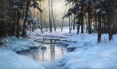 Картина маслом зимний пейзаж «Ручей в лесу» купить современную живопись Украина