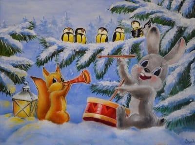 Картина для детской комнаты «С Новым годом» купить картину маслом Киев