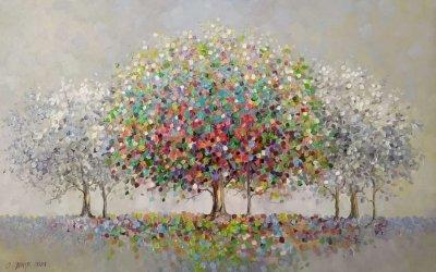 Картина маслом пейзаж «Сад радости» купить живопись Киев