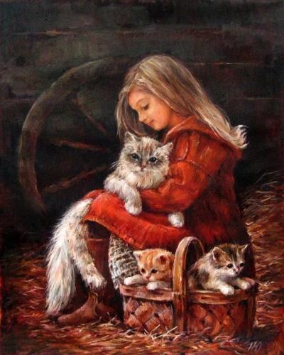 Картина анималистика детям «Счастье есть» купить живопись для современных интерьеров Киев