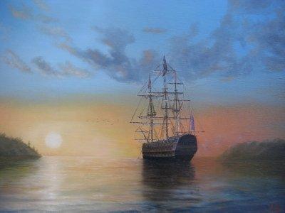 Картина маслом морской пейзаж «Штиль» купить живопись для современных интерьеров Киев