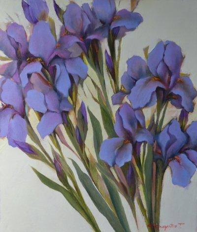 Картина цветы «Синие ирисы» купить живопись для современных интерьеров Украина