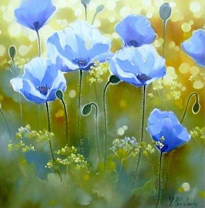 Картина маслом цветы «Синие маки» купить живопись для современных интерьеров Украина