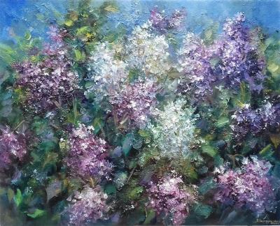 Картина живопись с цветами «Сирень» купить живопись для современных интерьеров Украина