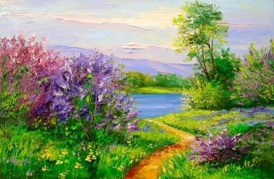Картина «Сирень у реки»