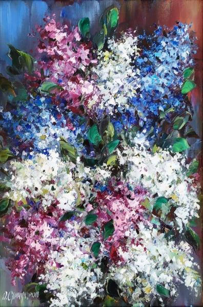 Картина цветы «Сирень» купить живопись для современных интерьеров Киев