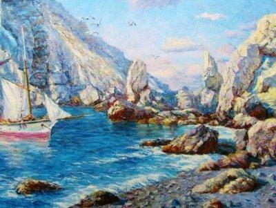Картина маслом морской пейзаж «Скалистый берег» купить современную живопись Украина