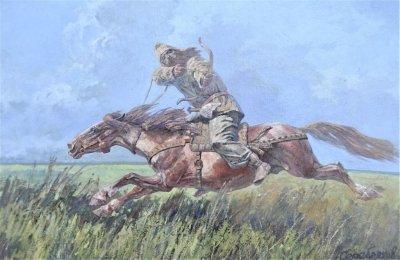 Картина маслом исторический пейзаж «Скифский лучник» купить живопись для современных интерьеров Киев