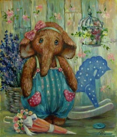 Картина детям «Слоненок» купить живопись для современных интерьеров Украина